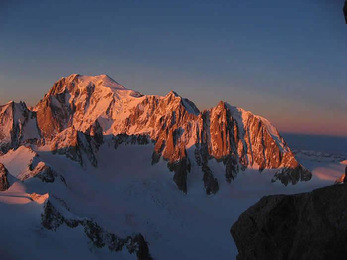 Mont Blanc, Mont Maudit in Mont Blanc du Tacul iz Dent du Geant.